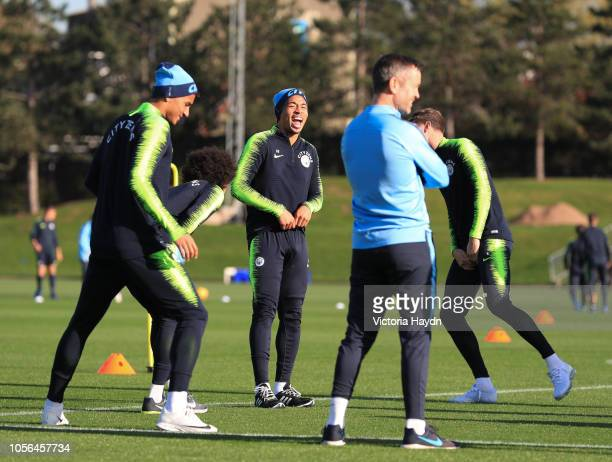 Manchester City's Danilo, Gabriel Jesus and John Stones laughing at Manchester City Football Academy on November 2, 2018 in Manchester, England.
