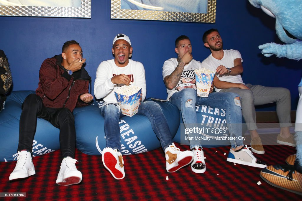 Manchester City's Danilo, Gabriel Jesus, Ederson Moraes and Bernardo Silva at The Printworks on August 15, 2018 in Manchester, England.