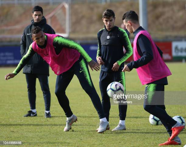 Manchester City's Danilo in action during training at the SportparkArena Pronto on October 3 2018 in Bad Schonborn Germany