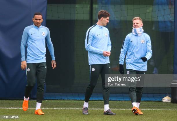 Manchester City's Danilo John Stones and Oleksandr Zinchenko during the open training session at Manchester City Football Academy on March 6 2018 in...