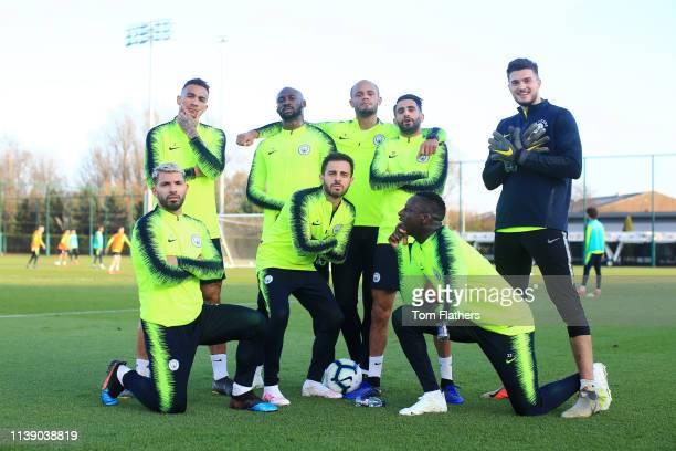 Manchester City's Danilo Sergio Aguero Eliaquim Mangala Bernardo Silva Vincent Kompany Riyad Mahrez Benjamin Mendy and Aro Muric in action during...