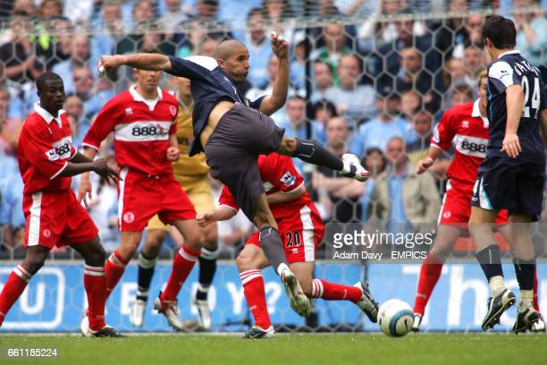 Manchester City's David James is brought up field as a striker to try and get the winner in the last few minutes