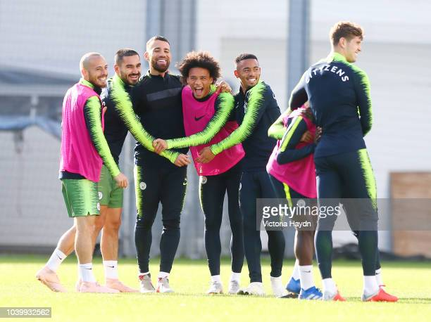 Manchester City's David Silva Ilkay Gundogan Nicolas Otamendi Leroy Sane Gabriel Jesus and John Stones in action at Manchester City Football Academy...