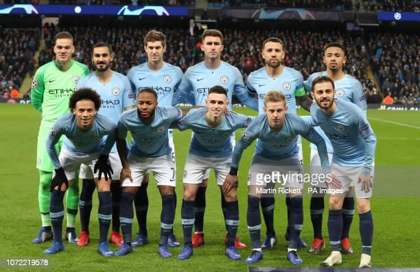 Manchester City's de Moraes Ederson Ilkay Gundogan John Stones Aymeric Laporte Nicolas Otamendi Fernando Gabriel Jesus Leroy Sane Raheem Sterling...
