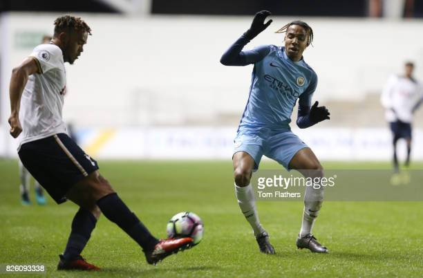 Manchester City's Demeaco Duhaney in action against Tottenham Hotspur