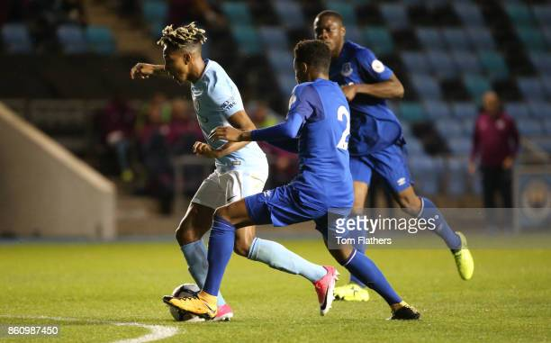 Manchester City's Demeaco Duhaney in action during the Premier League 2 match between Manchester City and Everton at Manchester City Football Academy...