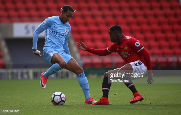 Manchester City's Demeaco Duhaney in action during the Premier League 2 match between Manchester United v Manchester City at Leigh Sports Village on...