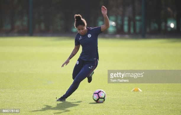 Manchester City's Demi Stokes during training at Manchester City Football Academy on October 25 2017 in Manchester England