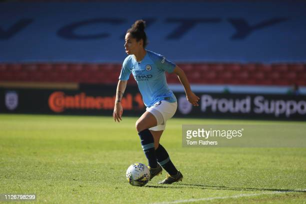 Manchester City's Demi Stokes in action during the Continental League Cup Final between Arsenal Women and Manchester City Women at Bramall Lane on...