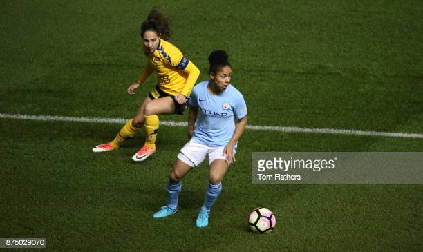 Manchester City's Demi Stokes in action during the UEFA Women's Champions League match between Manchester City Women and LSK Kvinner at The Academy...