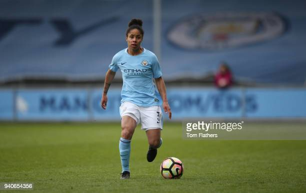 Manchester City's Demi Stokes in action during the WSL 1 match between Manchester City Women and Reading FC Women at The Academy Stadium on April 1...