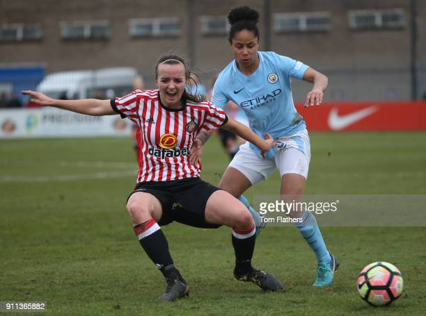 Manchester City's Demi Stokes in action during the WSL match between Sunderland AFC Ladies and Manchester City Women on January 28 2018 in Sunderland...