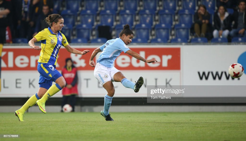 Manchester City's Demi Stokes scores against St. Polten on October 4, 2017 in St. Poelten, Lower Austria.