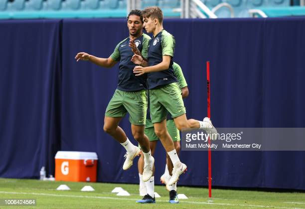 Manchester City's Douglas Luiz and Iker Pozo during the International Champions Cup 2018 open training session at the Hard Rock Stadium on July 27...