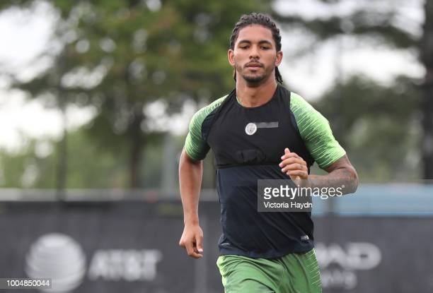 Manchester City's Douglas Luiz in action during training at New York City FC's training complex on July 23 2018 in New York City