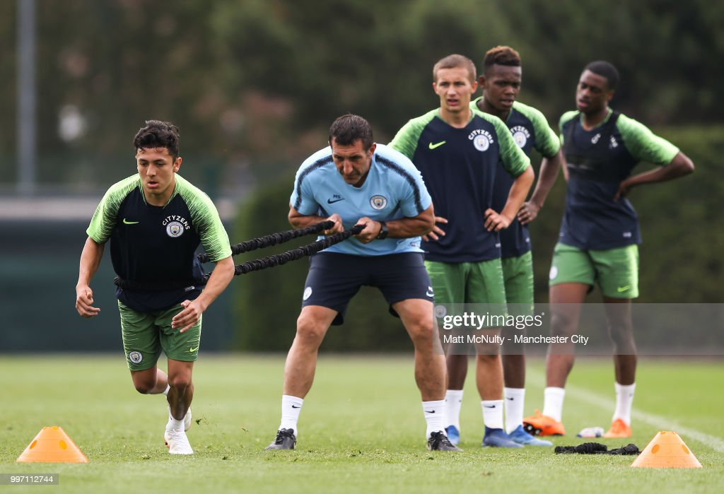 Manchester City's during training at Manchester City Football Academy on July 12, 2018 in Manchester, England.