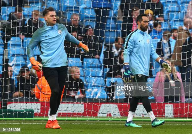 LR Manchester City's Ederson and Manchester City's Claudio Bravo during the prematch warmup during the UEFA Champions League Quarter Final Second Leg...