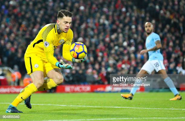 Manchester City's Ederson during the Premier League match between Liverpool and Manchester City at Anfield on January 14 2018 in Liverpool England