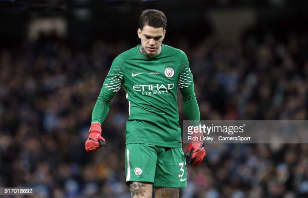 Manchester City's Ederson during the Premier League match between Manchester City and Leicester City at Etihad Stadium on February 10 2018 in...