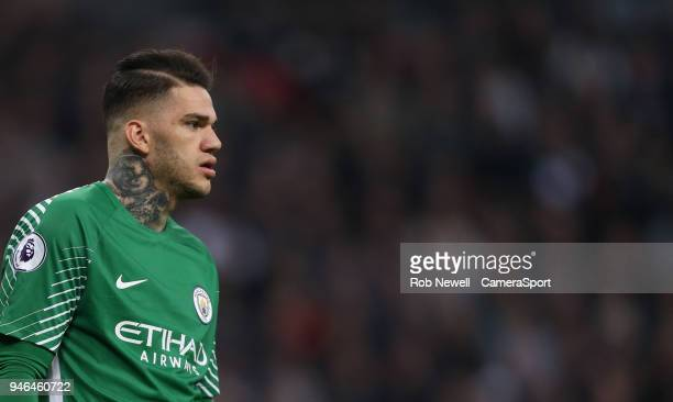 Manchester City's Ederson during the Premier League match between Tottenham Hotspur and Manchester City at Wembley Stadium on April 14 2018 in London...