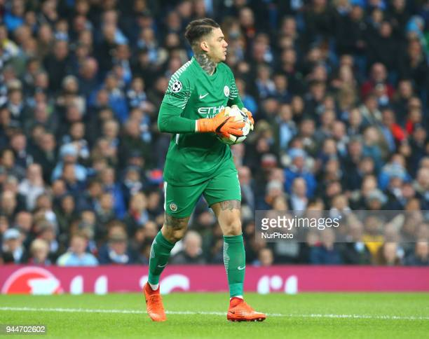 Manchester City's Ederson during the UEFA Champions League Quarter Final Second Leg match between Manchester City and Liverpool at Etihad Stadium on...
