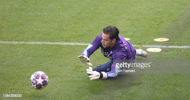 Manchester City's Ederson in action during at Manchester City Football Academy on August 06 2020 in Manchester England