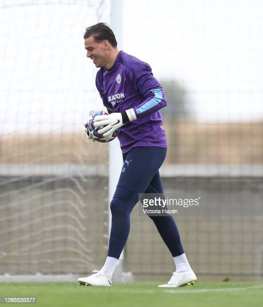 Manchester City's Ederson in action during training at the Cidade do Futebol on August 11 2020 in Lisbon Portugal