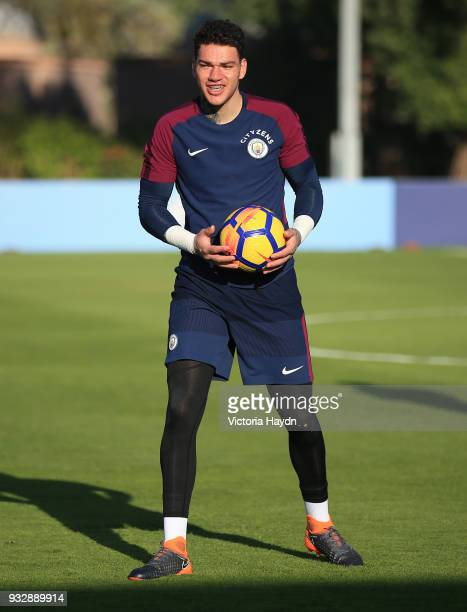 Manchester City's Ederson Moraes during the training session on March 16 2018 in Abu Dhabi United Arab Emirates