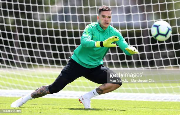 Manchester City's Ederson Moraes during training at Manchester City Football Academy on July 31 2018 in Manchester England