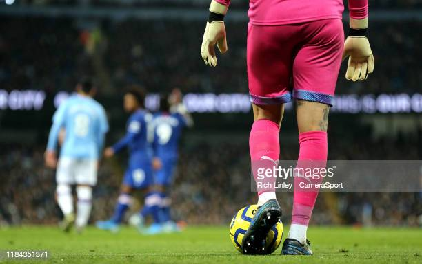 Manchester City's Ederson prepares to take a goalkick during the Premier League match between Manchester City and Chelsea FC at Etihad Stadium on...