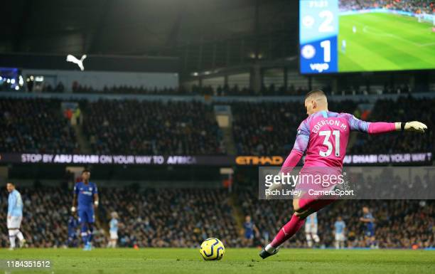 Manchester City's Ederson takes a goalkick during the Premier League match between Manchester City and Chelsea FC at Etihad Stadium on November 23...