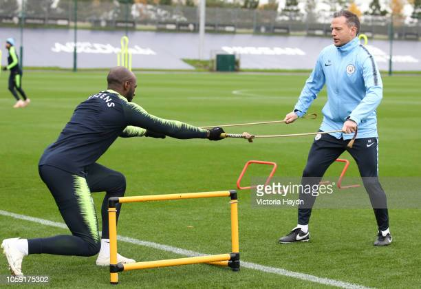 Manchester City's Eliaquim Mangala in action at Manchester City Football Academy on November 8 2018 in Manchester England