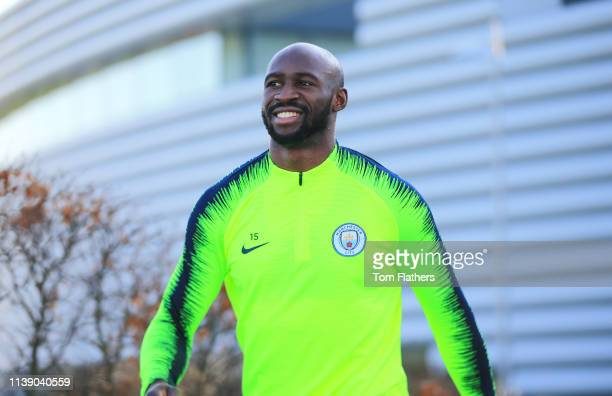 Manchester City's Eliaquim Mangala walks out to training at Manchester City Football Academy on March 28 2019 in Manchester England