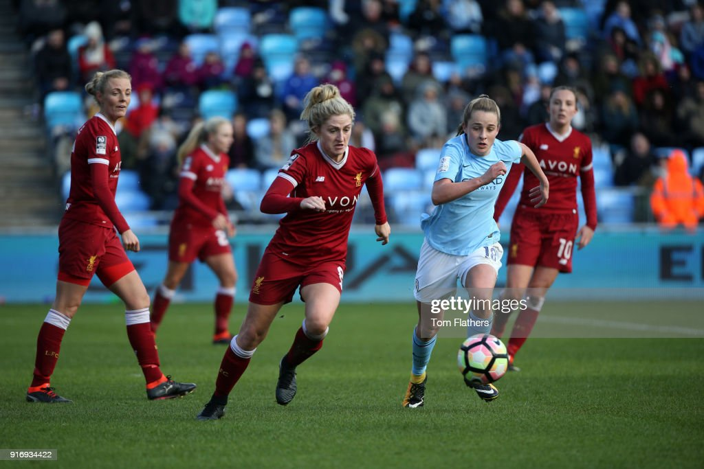Manchester City's Ella Toone in action at the Academy Stadium during the FA WSL 1 match between Manchester City Women and Liverpool Ladies on February 11, 2018 in Manchester, England.