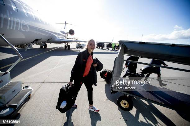 Manchester City's Ellie Roebuck arrives in Aalborg airport