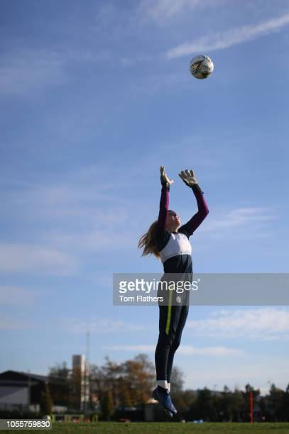 Manchester City's Ellie Roebuck in action during training at Manchester City Football Academy on October 31 2018 in Manchester England