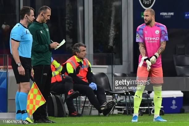 Manchester City's English defender Kyle Walker prepares to enter the pitch as a replacing goalkeeper during the UEFA Champions League Group C...