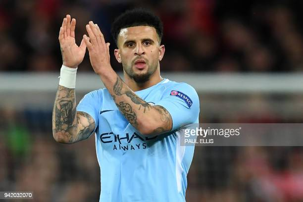 Manchester City's English defender Kyle Walker reacts at the final whistle during the UEFA Champions League first leg quarterfinal football match...