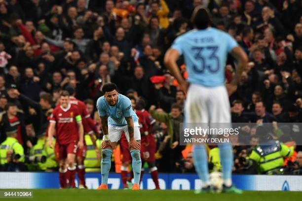 Manchester City's English defender Kyle Walker reacts during the UEFA Champions League second leg quarterfinal football match between Manchester City...