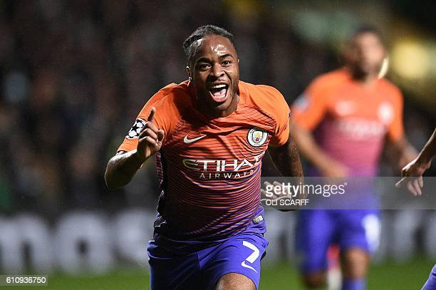 Manchester City's English midfielder Raheem Sterling celebrates scoring his team's second goal during the UEFA Champions League Group C football...