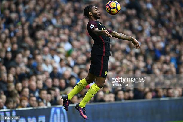 Manchester City's English midfielder Raheem Sterling controls the ball during the English Premier League football match between West Bromwich Albion...