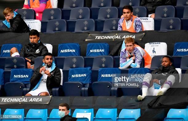 Manchester City's English midfielder Raheem Sterling , Manchester City's Belgian midfielder Kevin De Bruyne and Manchester City's Algerian midfielder...