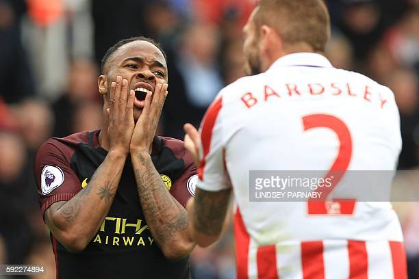 Manchester City's English midfielder Raheem Sterling reacts during the English Premier League football match between Stoke City and Manchester City...