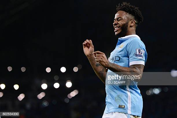 Manchester City's English midfielder Raheem Sterling reacts to missing a chance during the English Premier League football match between Manchester...