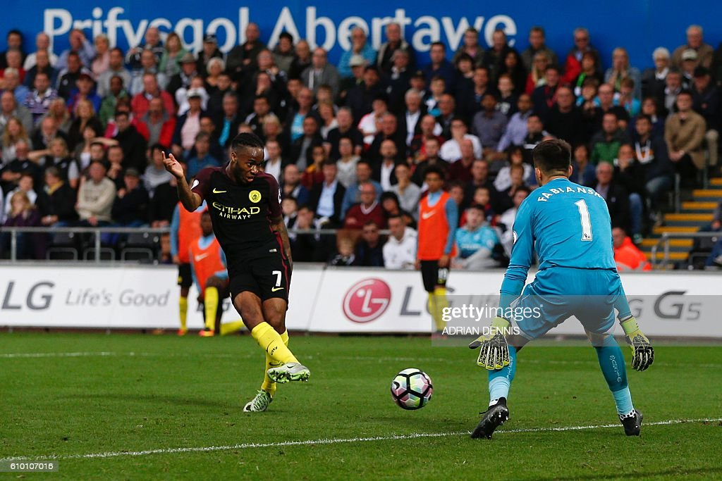 Manchester City's English midfielder Raheem Sterling (L) slots the ball past Swansea City's Polish goalkeeper Lukasz Fabianski (R) to score their third goal during the English Premier League football match between Swansea City and Manchester City at The Liberty Stadium in Swansea, south Wales on September 24, 2016. / AFP / Adrian DENNIS / RESTRICTED TO EDITORIAL USE. No use with unauthorized audio, video, data, fixture lists, club/league logos or 'live' services. Online in-match use limited to 75 images, no video emulation. No use in betting, games or single club/league/player publications. /