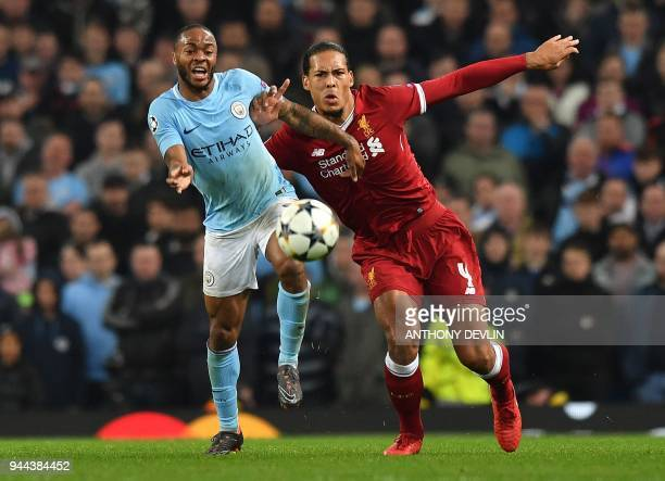 Manchester City's English midfielder Raheem Sterling vies with Liverpool's Dutch defender Virgil van Dijk during the UEFA Champions League second leg...