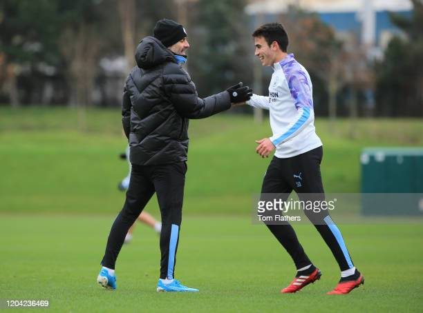 Manchester City's Eric Garcia and Pep Guardiola in action during training at Manchester City Football Academy on February 03 2020 in Manchester...