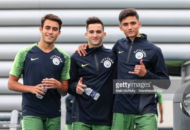 Manchester City's Eric Garcia Benjamin Garre and Nabil Touaizi during training at Manchester City Football Academy on July 13 2018 in Manchester...