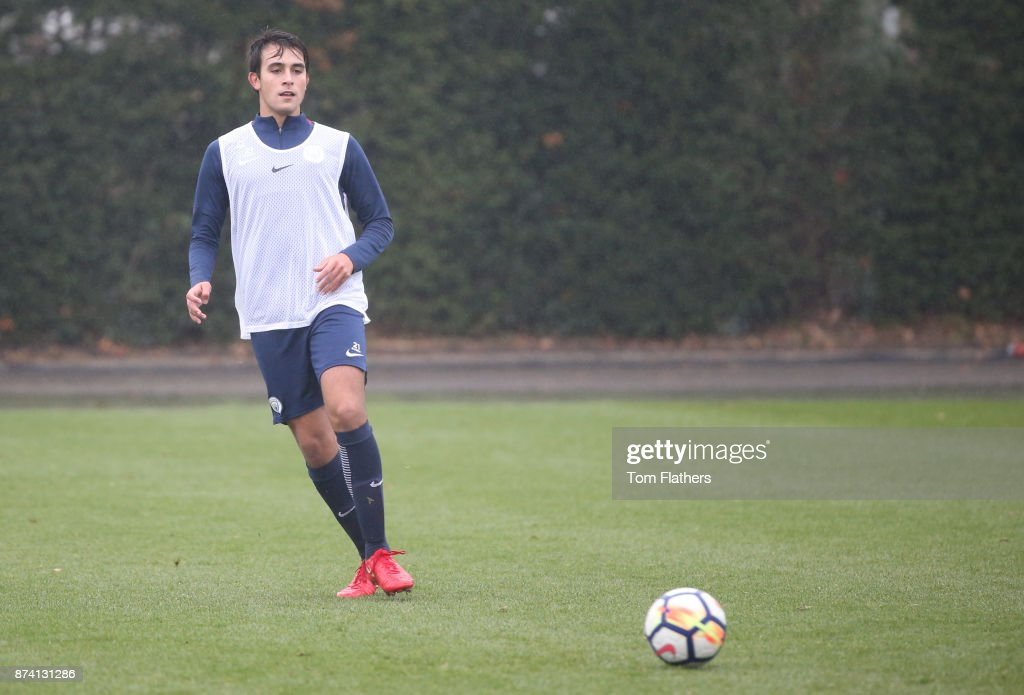 Manchester City's Eric Garcia during training at Manchester City Football Academy on November 14, 2017 in Manchester, England.