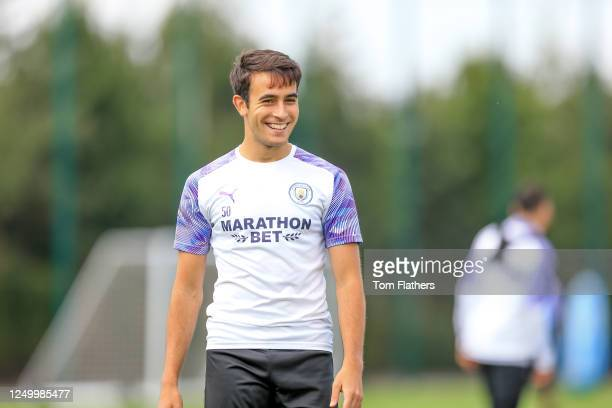 Manchester City's Eric Garcia in action during training at Manchester City Football Academy on June 14 2020 in Manchester England